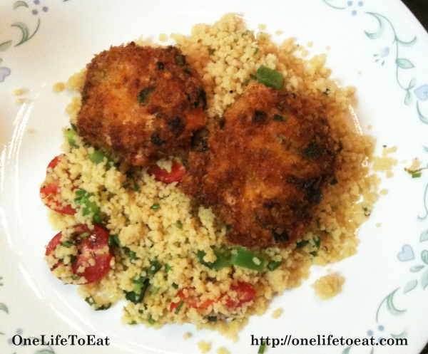 Salmon Cakes served on a bed of couscous
