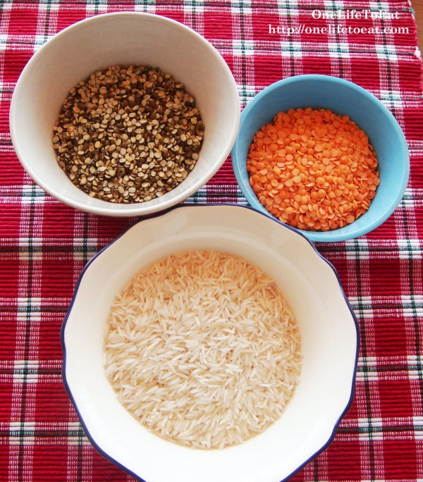 Split black lentils, pink lentils and Basmati rice