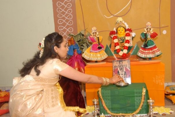 The author performing the Gowri Pooja at her wedding