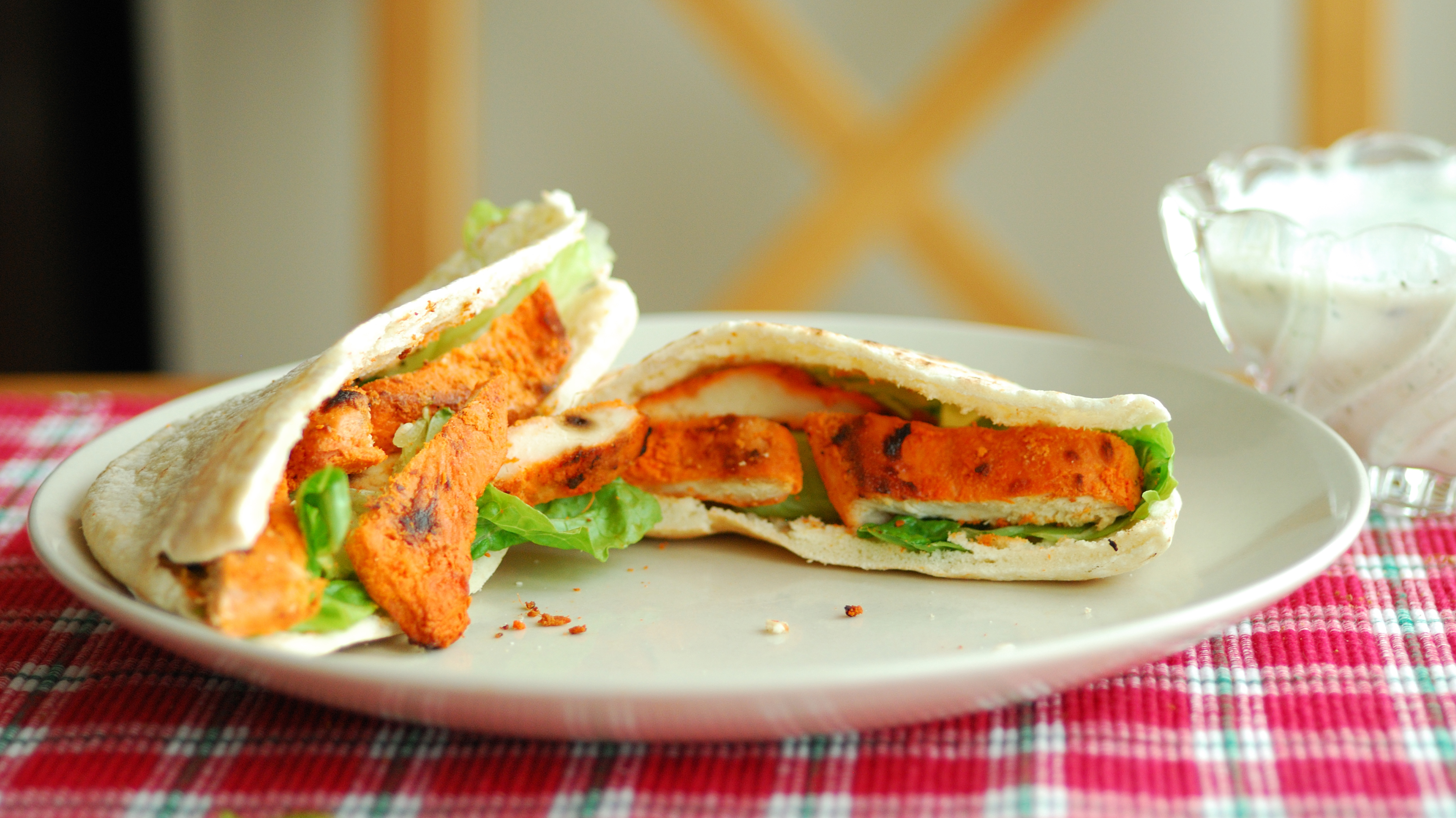 Tandoori Chicken Breasts on Pitas